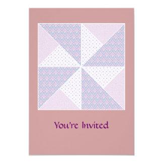 Double Pinwheel Pastel Blue & Pink Quilt Block Card