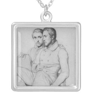 Double portrait of Hippolyte and Paul Flandrin Silver Plated Necklace