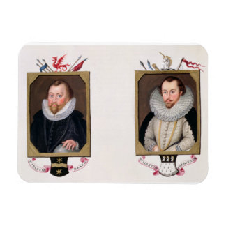 Double portrait of Sir Francis Drake (c.1540-96) a Magnet