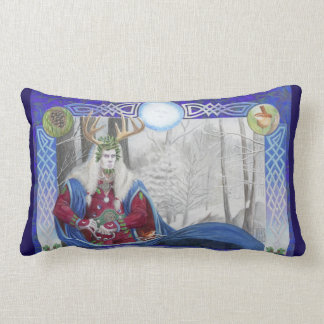 Double Portrait of the Oak King and Holly King Lumbar Pillow