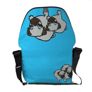 Double Pug Messenger Bag