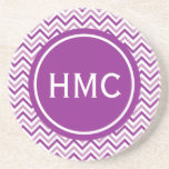 Double Purple Chevron Monogram Drink Coaster