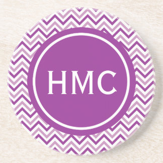 Double Purple Chevron Monogram Sandstone Coaster