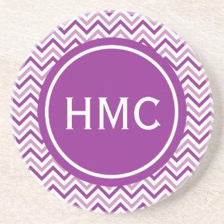 Double Purple Chevron Monogram Sandstone Coaster