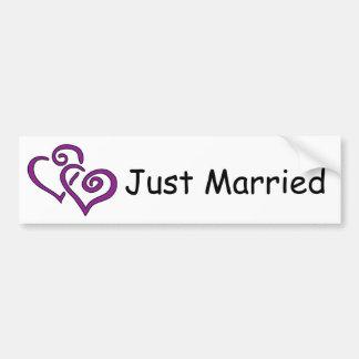 Double Purple Hearts Just Married Bumper Sticker