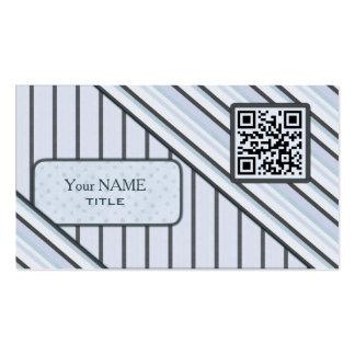 Double QR Code Retro Blue Business Card