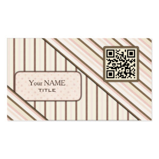 Double QR Code Retro Pink Business Card