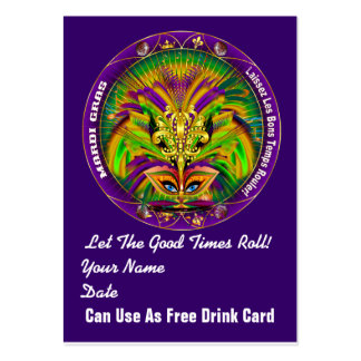 Double Queen Mardi Gras Throw Card Plain Back Large Business Cards (Pack Of 100)