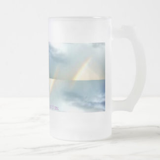 DOUBLE RAINBOW 16 OZ FROSTED GLASS BEER MUG