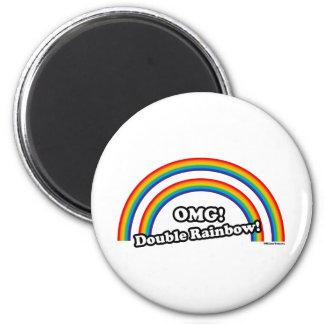 Double Rainbow 2 Inch Round Magnet