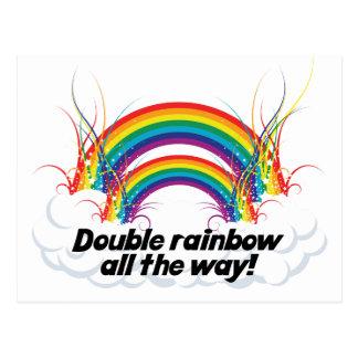 DOUBLE RAINBOW ALL THE WAY POST CARD