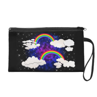 Double Rainbow and Stars Wristlet Clutches