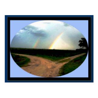 DOUBLE RAINBOW AT THE CROSSROADS ZAZZLE POSTCARD