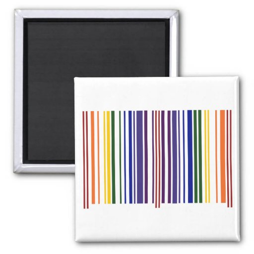 Double Rainbow Barcode 2 Inch Square Magnet