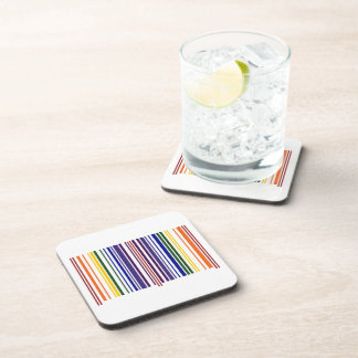 Double Rainbow Barcode Beverage Coaster