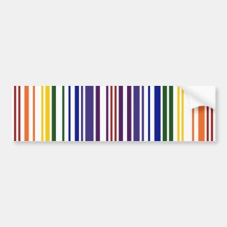Double Rainbow Barcode Bumper Stickers