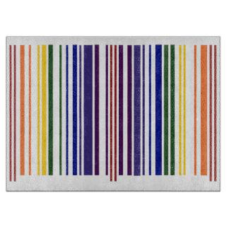 Double Rainbow Barcode Cutting Board