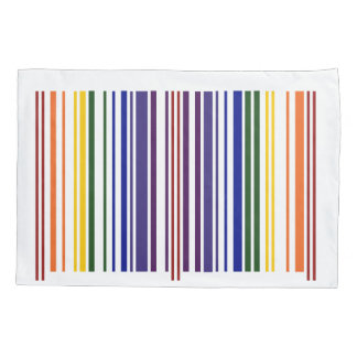 Double Rainbow Barcode Geometric Pattern Pillowcase