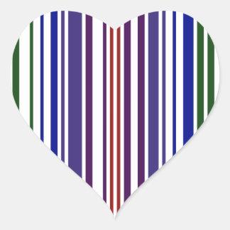 Double Rainbow Barcode Heart Sticker