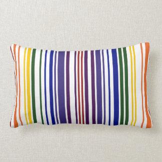 Double Rainbow Barcode Lumbar Pillow
