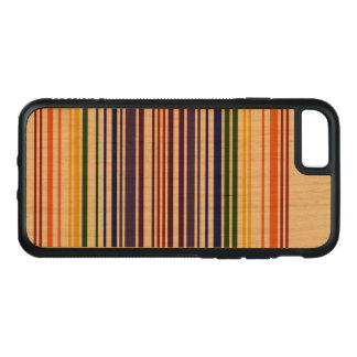 Double Rainbow Barcode on Natural Wood Carved iPhone 7 Case