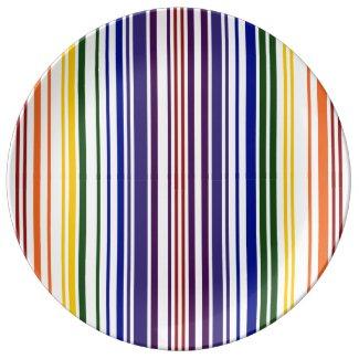 Double Rainbow Barcode Porcelain Plates