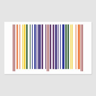 Double Rainbow Barcode Rectangular Sticker