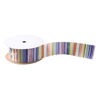 Double Rainbow Barcode Satin Ribbon