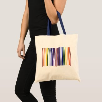 Double Rainbow Barcode Stripes 2-sided Tote Bag