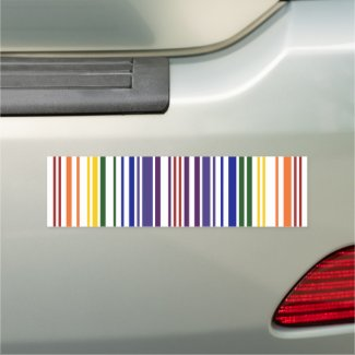 Double Rainbow Barcode Stripes Car Magnet