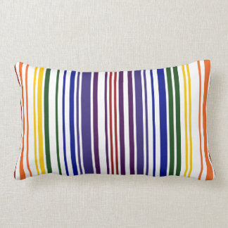 Double Rainbow Barcode Throw Pillow