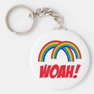 Double Rainbow Basic Round Button Keychain