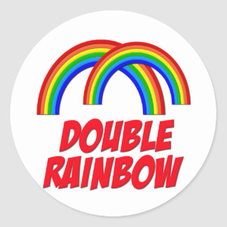 Double Rainbow Classic Round Sticker