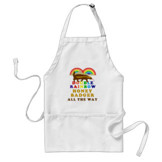 Double Rainbow Honey Badger All The Way Adult Apron