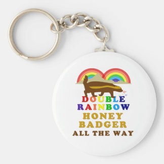 Double Rainbow Honey Badger All The Way Basic Round Button Keychain