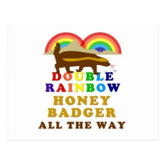 Double Rainbow Honey Badger All The Way Post Card