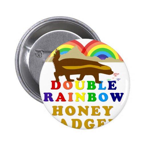 double rainbow honey badger pin