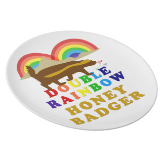 double rainbow honey badger plates