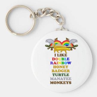 Double Rainbow Honey Badger Turtle manatee monkeys Basic Round Button Keychain