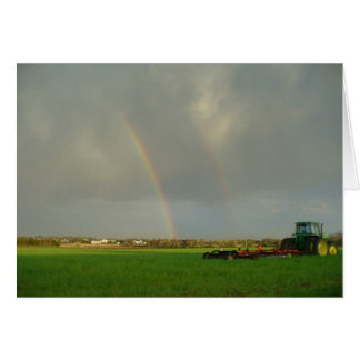 Double Rainbow in Farmfield Card