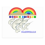 double rainbow narwhals postcards