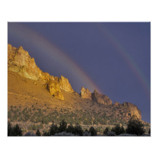 Double rainbow over a rock formation near Smith Poster
