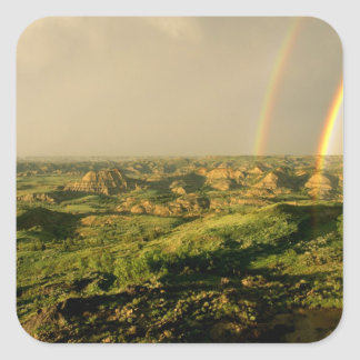 Double Rainbow over Painted Canyon in Theodore Square Sticker