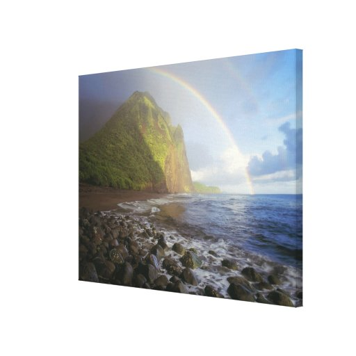 Double rainbow over the cliffs of the North Canvas Print