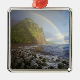Double rainbow over the cliffs of the North Metal Ornament