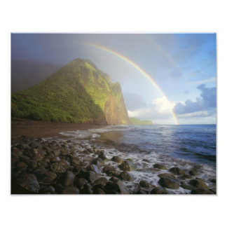Double rainbow over the cliffs of the North Photo Print
