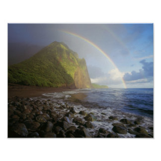 Double rainbow over the cliffs of the North Poster