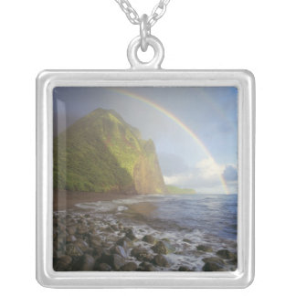 Double rainbow over the cliffs of the North Silver Plated Necklace