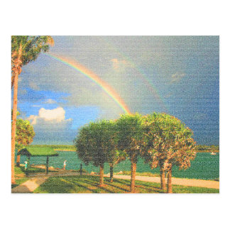 double rainbow over trees quilted postcard