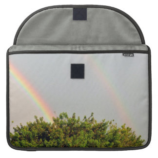 Double Rainbow Photo with sky and trees Sleeve For MacBooks